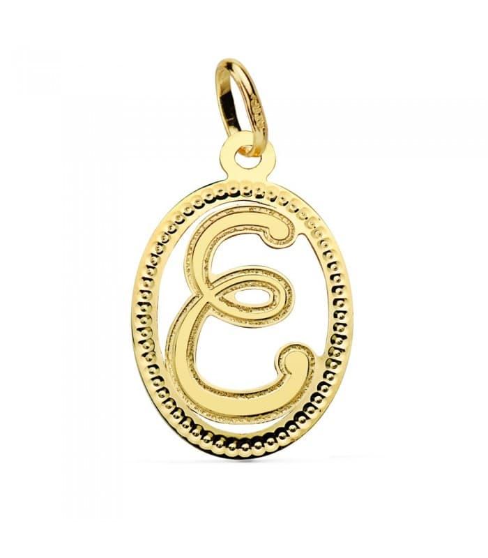 Colgante Tallado Letra E Oro Amarillo 18 Kts 18 mm Collar inicial nombre mujer