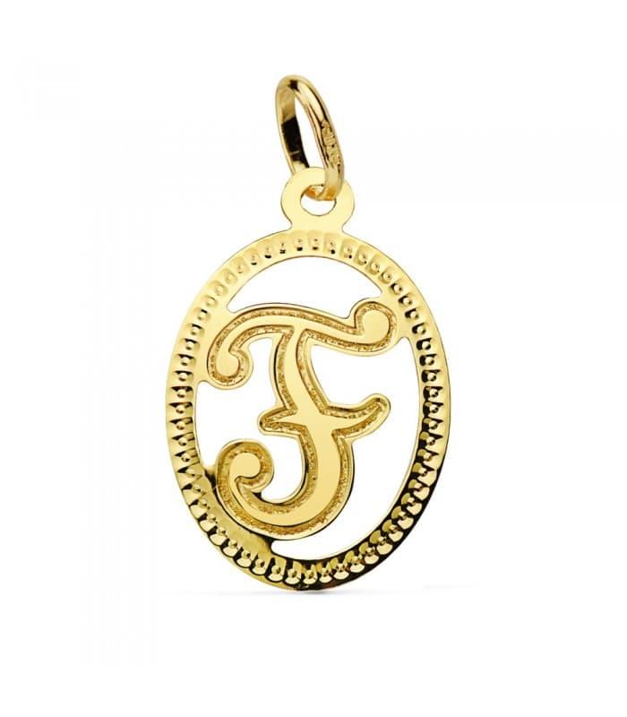 Colgante Tallado Letra F Oro amarillo 18 K 18mm Collar inicial nombre mujer