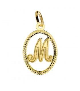Colgante Tallado Letra M Oro Amarillo 18 K 18 mm collar nombre mujer