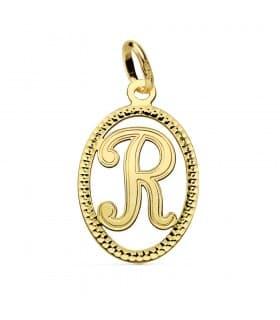 Colgante Tallado Letra R Oro Amarillo 18 K 18 mm collar nombre mujer