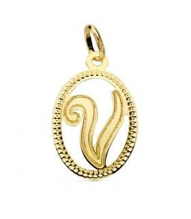Colgante Tallado Letra V Oro Amarillo 18 K 18mm collar nombre mujer