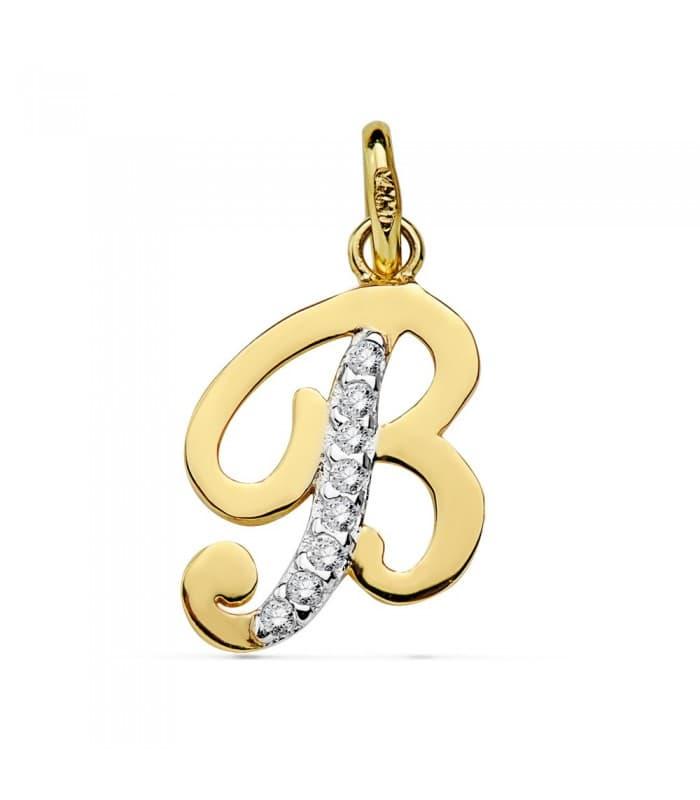 Colgante Inicial B Oro Amarillo 18 K 13 mm collar nombre mujer