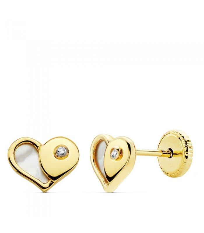 Pendientes Corazón Nácar 7 MM 18 K