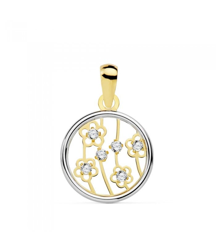 Colgante Oro Bicolor 18K Flori 8 MM oro blanco collar mujer charm flor