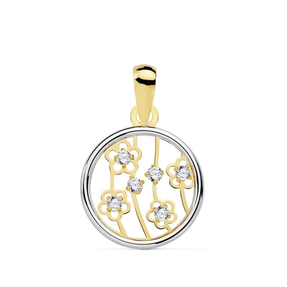 465669753c10 Colgante Oro Bicolor 18K Flori 8 MM oro blanco collar mujer charm flor