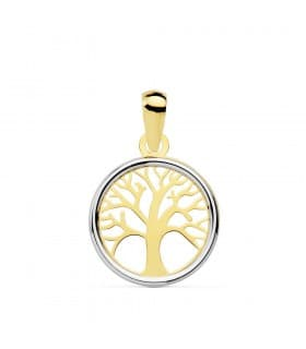 Colgante mujer árbol de la vida Oro BI 18 Kilates 12 mm gargantilla charm collar oro blanco