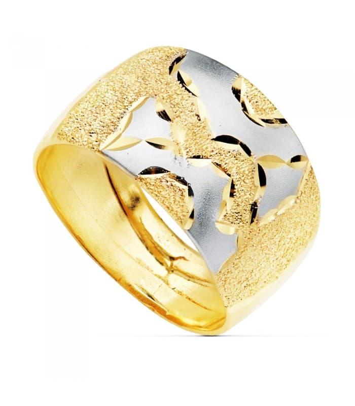 Sortija de mujer Oro Bicolor 18K Banda matizada anillo ancho grueso