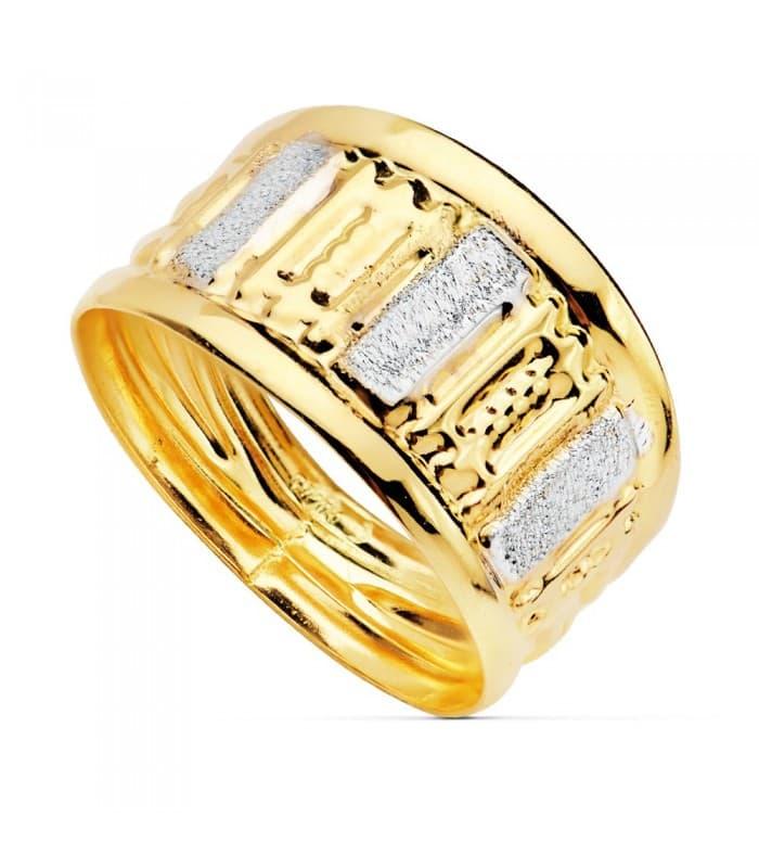 Sortija de mujer Oro Bicolor 18K Banda Tallada