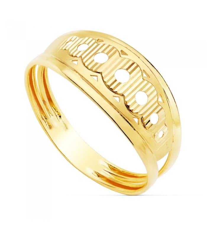 Sortija de mujer Oro Amarillo 18K Círculos calados anillo bandas señora