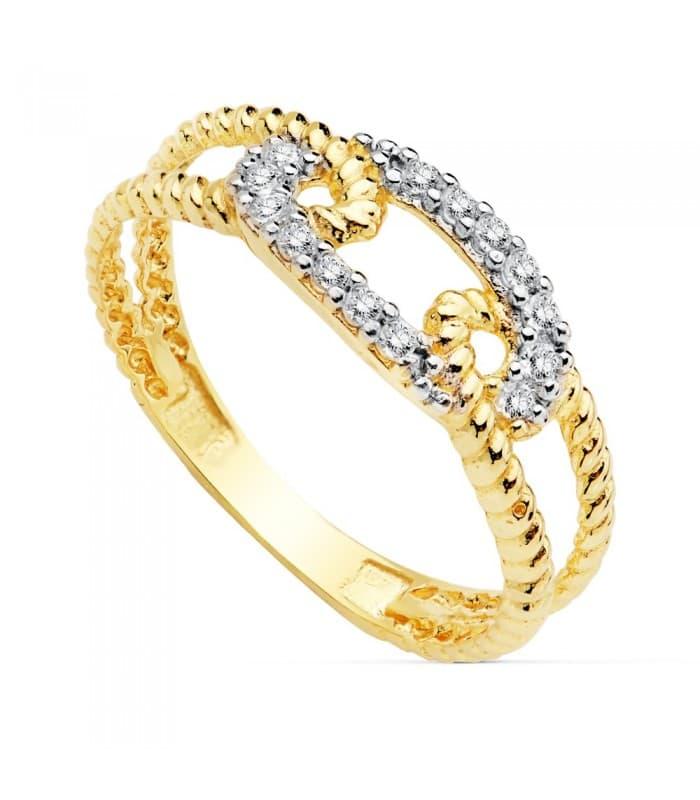 Sortija de mujer Oro Bicolor 18K anillo Nudo Marinero rizado amarillo circonitas talla brillante