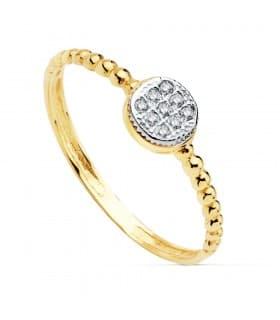 Anillo Slim Bolas de mujer Oro Bicolor 18K Chatón anillo rizado bolitas