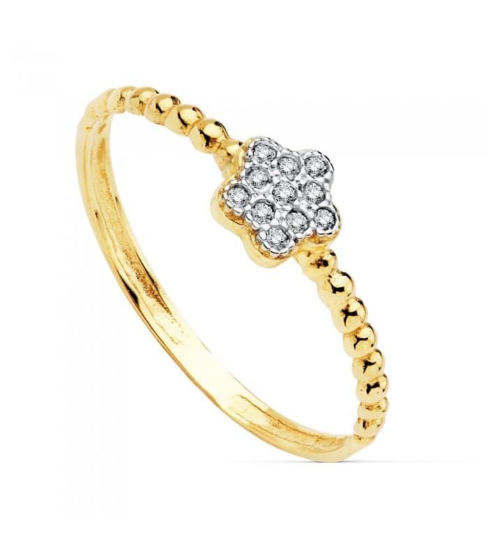 Anillo Slim Bolas Mujer Oro Bicolor 18K anillo rizado bolitas Flor circonitas
