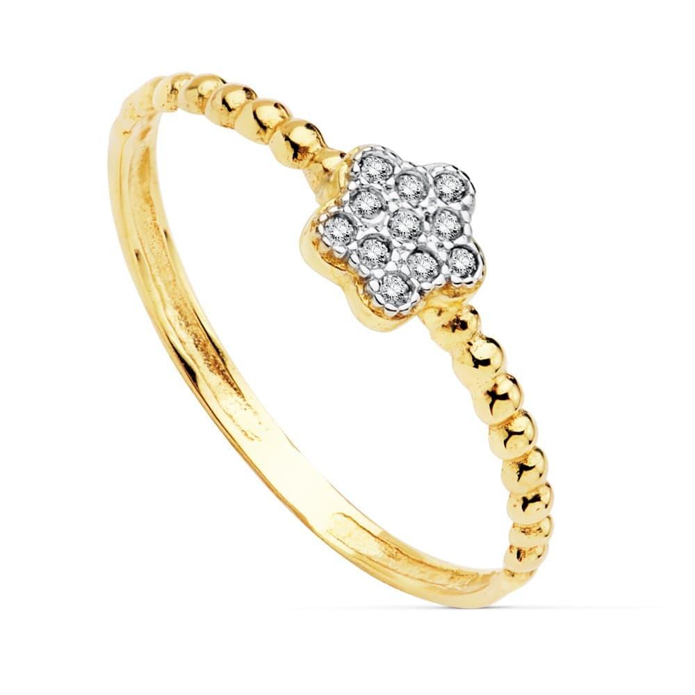 9ee77df31852 Anillo Slim Bolas Mujer Oro Bicolor 18K anillo rizado bolitas Flor  circonitas