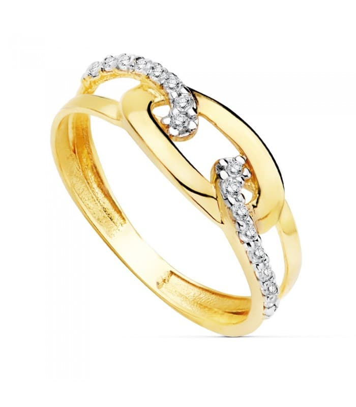 Sortija de mujer Oro Bicolor 18K Nudo Marinero anillo bandas