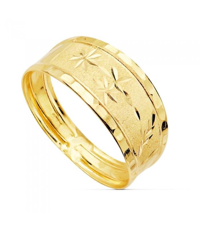 Sortija de mujer Oro Amarillo 18K Banda tallado estrellas anillo ancho mujer