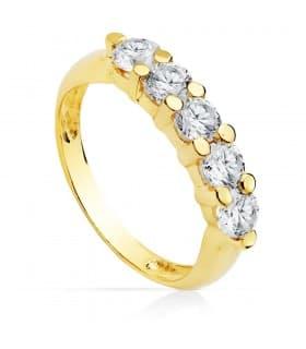 Anillo oro amarillo Clarise 3 mm 18 Ktes sortija alianza oro amarillo circonitas tresillo