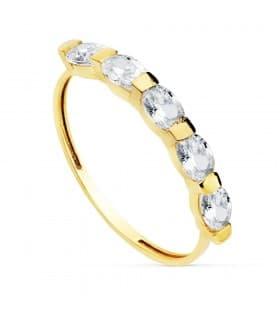 Media Alianza boda Anillo de Mujer Oro Amarillo 18K Cinco Sentidos sortija piedras gemas circonitas cristal