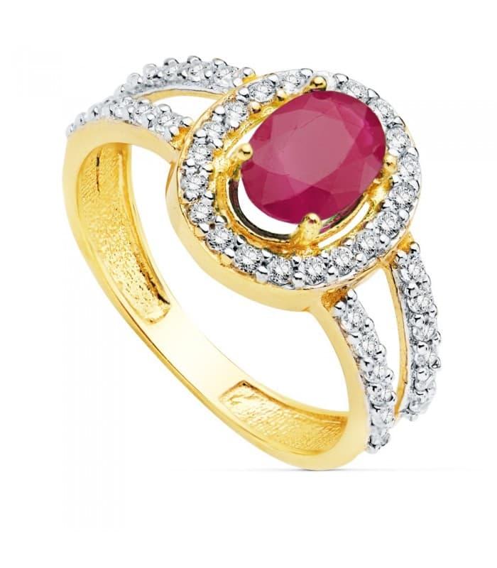 Sortija Mujer Oro 18 Kilates Ginny Piedras preciosas anillo Rubí alta joyería solitario