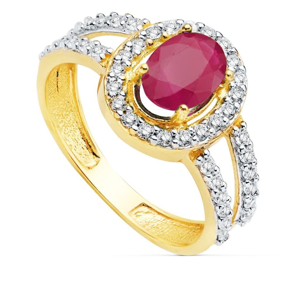76f99f84a04f Sortija Mujer Oro 18 Kilates Ginny Piedras preciosas anillo Rubí alta  joyería solitario