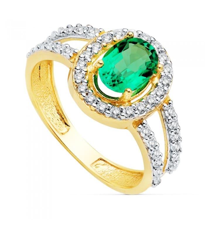 Sortija Mujer Oro Bicolor 18K Ginny Piedra Preciosa Esmeralda 0.79 QT gemas circonitas