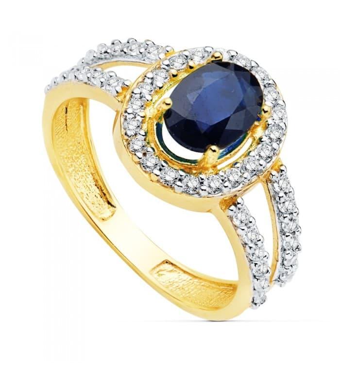 Sortija Mujer Oro Bicolor 18 Kilates Ginny Piedras preciosas anillo elegante Zafiro