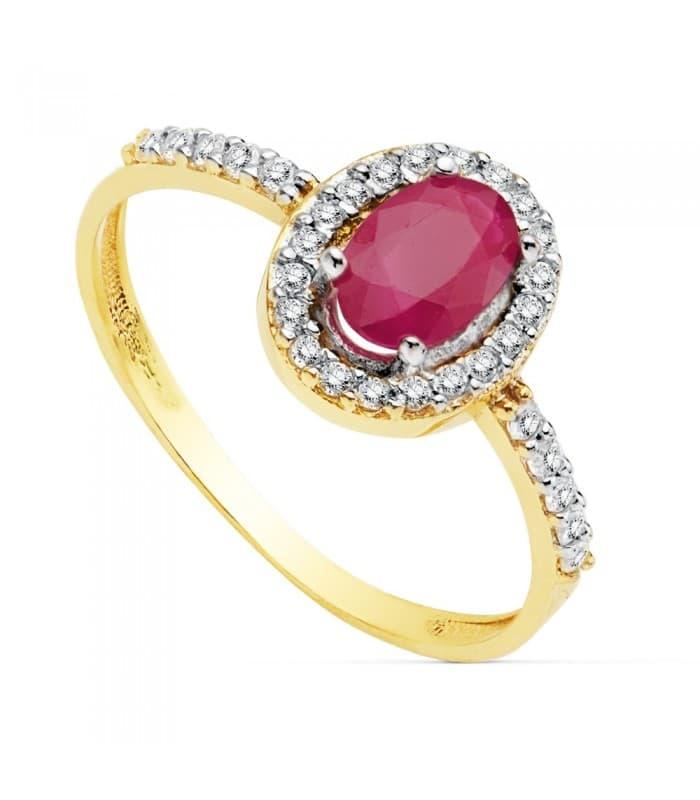 Sortija Mujer Oro Bicolor 18K Ginevra anillo Piedra preciosa Rubí gemas engastadas