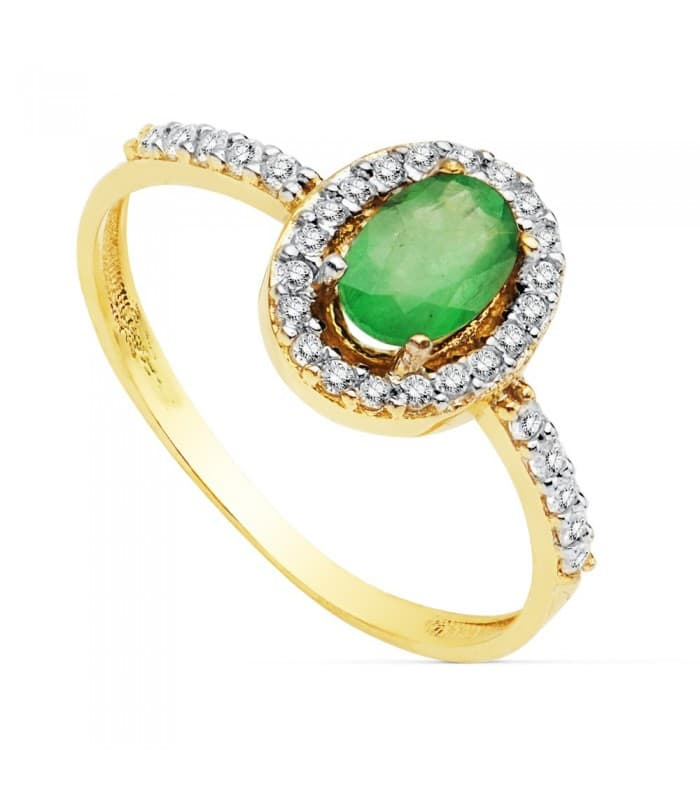 Sortija Mujer Oro Bicolor 18K Ginevra Piedra preciosa Esmeralda anillo gemas colores