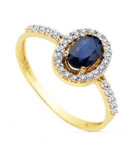 Sortija Mujer Oro Bicolor 18 Kilates Anillo Piedra Preciosa Zafiro gemas colores calidad joyas para invitadas de boda