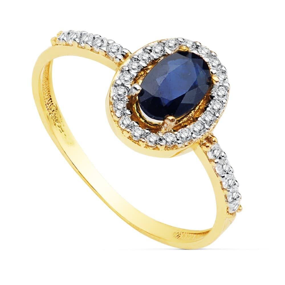 881e64c50032 Sortija Mujer Oro Bicolor 18 Kilates Anillo Piedra Preciosa Zafiro gemas  colores calidad joyas para invitadas ...