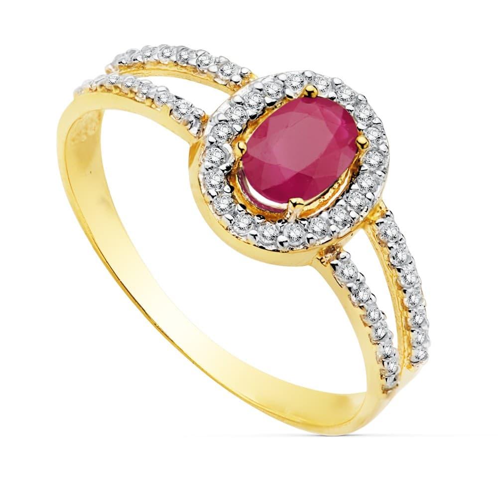 7520f11b4dfb Sortija Mujer Oro Bicolor 18K Galya Piedras preciosas Rubí invitada  perfecta boda