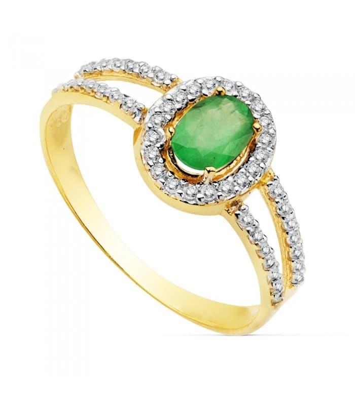 Sortija Mujer Oro Bicolor 18K Galya anillo Piedra preciosa Esmeralda joyas invitada de boda