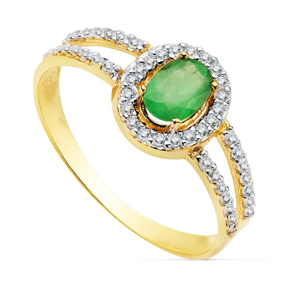 b463a0e41593 Sortija Mujer Oro Bicolor 18K Galya anillo Piedra preciosa Esmeralda joyas  invitada de boda