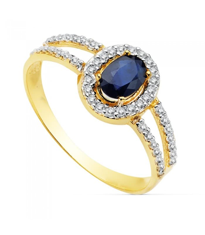 Sortija Mujer Oro Bicolor 18K Galya Piedra Preciosa Zafiro Azul joyas para invitada perfecta de boda