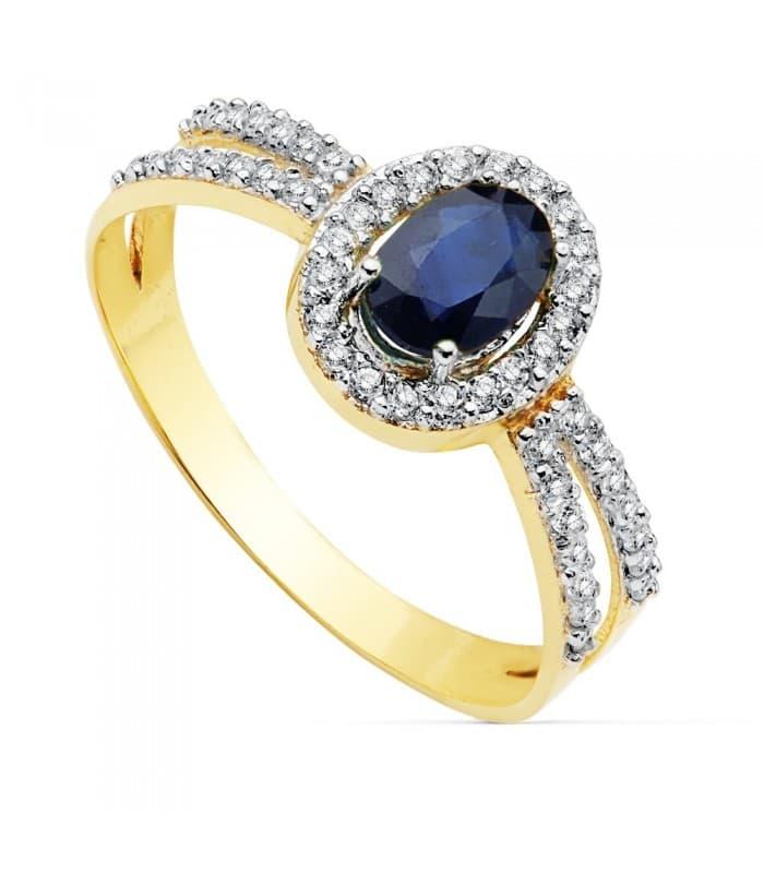 Sortija Mujer Oro Bicolor 18K Granela Piedras preciosas Zafiro azul anillo invitada de boda elegante novia