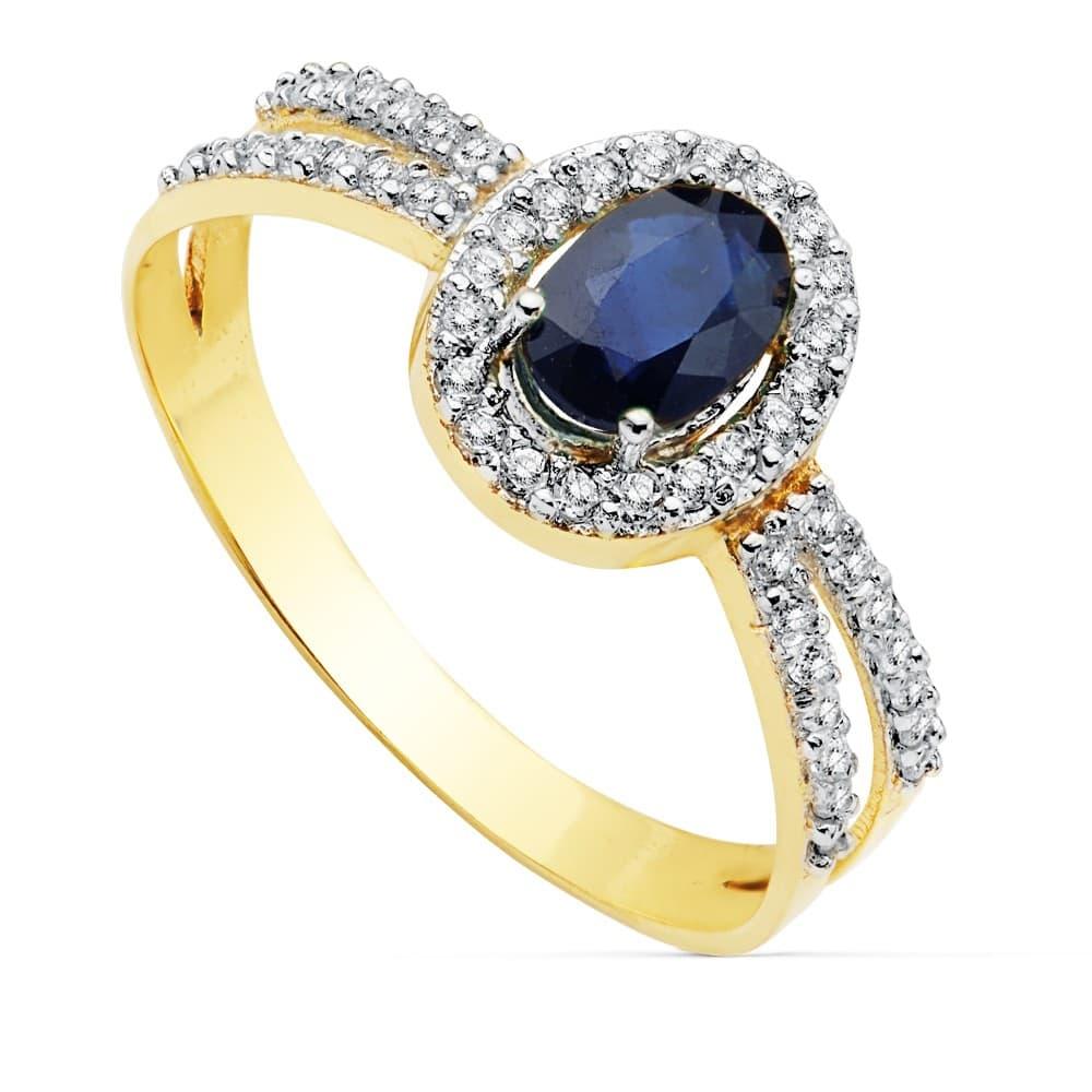 6d4814524b3d Sortija Mujer Oro Bicolor 18K Granela Piedras preciosas Zafiro azul anillo  invitada de boda elegante novia
