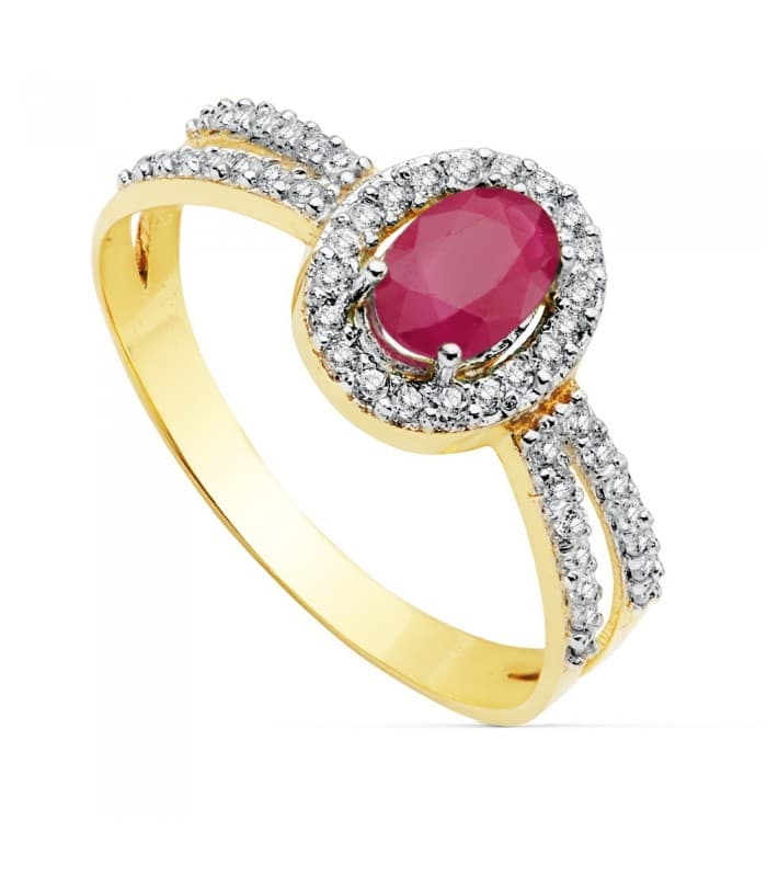 Sortija Mujer Oro Bicolor 18K Granela Piedras preciosas Rubí rojo gemas colores invitada de boda novia