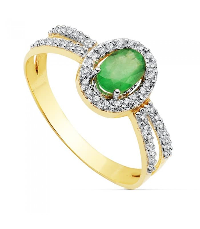 Sortija Mujer Oro Bicolor 18K Gianella Piedra Esmeralda anillo invitada de boda novia