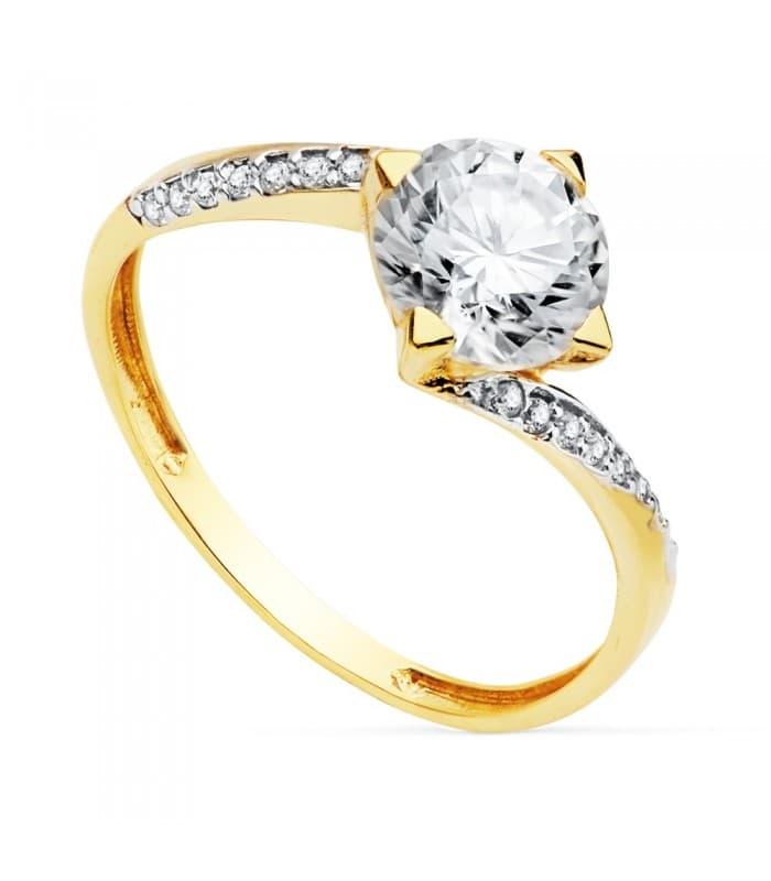 Solitario Mujer Oro Bicolor 18 Kilates Berna anillo compromiso boda sortija novia oro amarillo