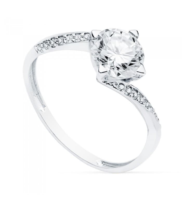 Solitario Mujer Oro Blanco 18K Berna anillo de compromiso boda novia alianza matrimonio piedra grande pedrusco