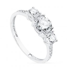 Tresillo Mujer Oro Blanco 18K Gretha anillo de compromiso boda novia joyería calidad