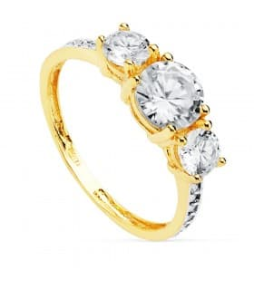 Tresillo Mujer Oro Amarillo 18 Kilates Gretha anillo de compromiso boda novia