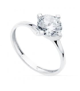 Solitario Mujer Oro Blanco 18K Davos anillo de compromiso boda novia amor