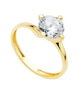 Solitario Mujer Oro Amarillo 18K Davos anillo compromiso boda novia elegante singular original