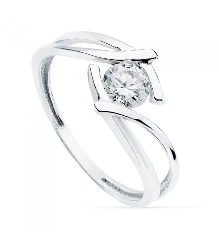 Solitario Mujer Oro Blanco 18K Zurich anillo de compromiso boda novia elegante