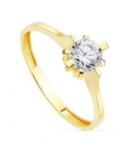 Solitario Mujer Oro Amarillo 18K Vals anillo de compromiso boda novia
