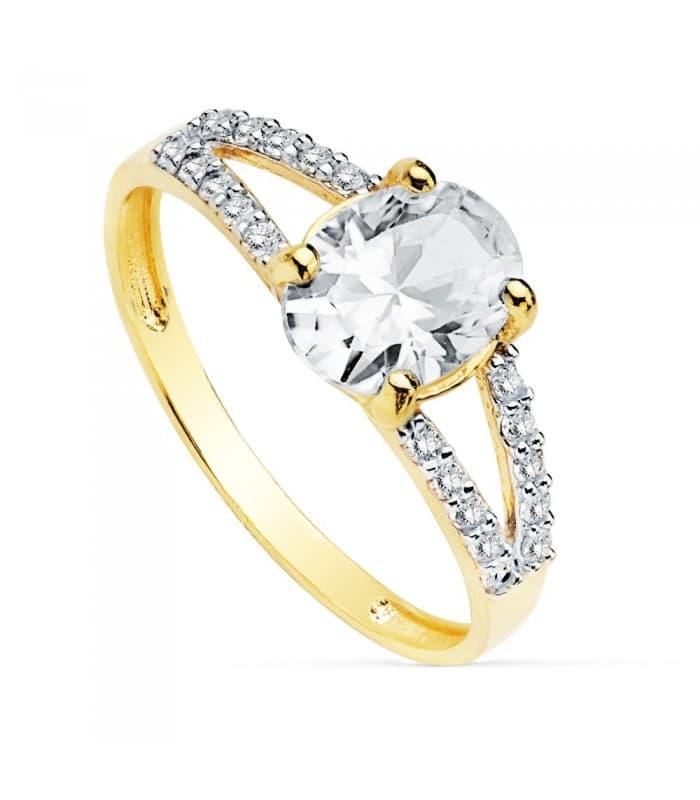 Sortija Mujer Oro Bicolor 18K Winterhur Solitario novia anillo compromiso boda