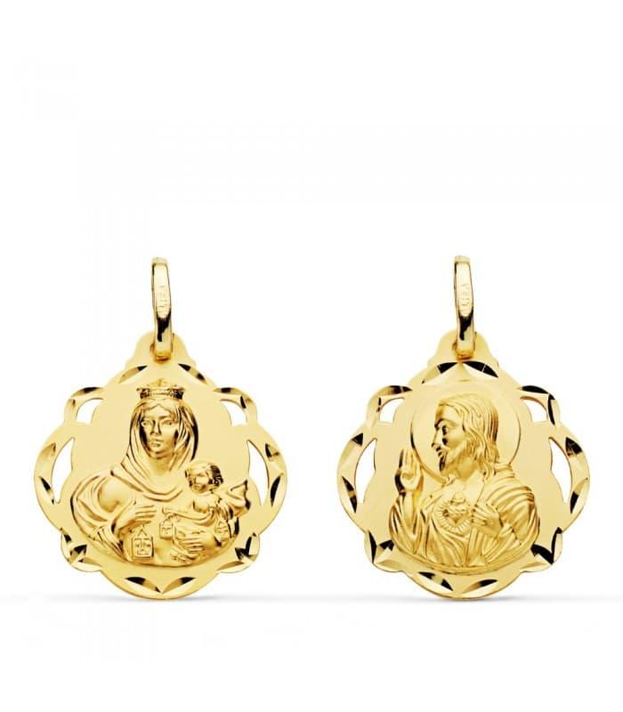 V. Carmen/Corazón de Jesús pandereta 20 mm escapulario medalla religiosa