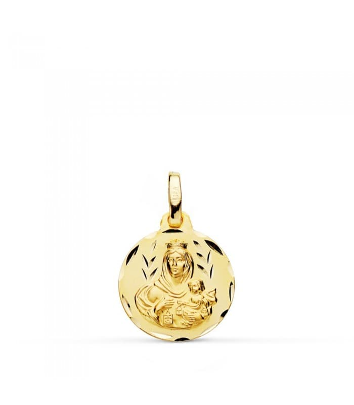 Medalla Virgen Carmen tallada 14mm