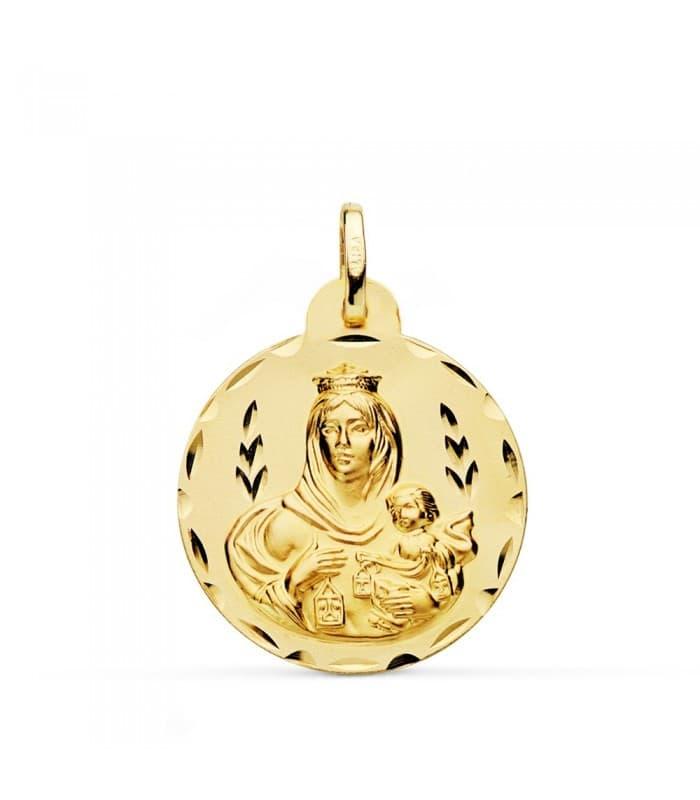 Medalla Virgen Carmen tallada 24mm