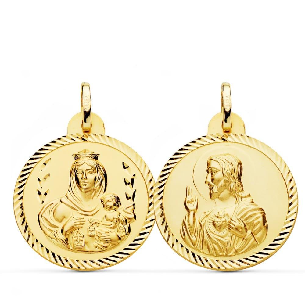 b338e1f9c02 Escapulario Virgen Carmen y Corazón Jesús Medalla Oro 18k hélice 24 mm